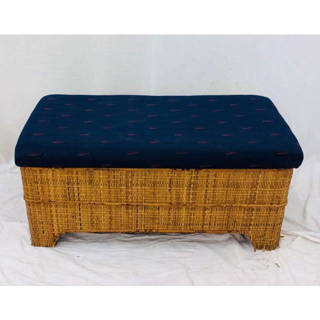 Gorgeous Antique Thatched / Woven Wicker & Scorched Bamboo Stick Blanket Chest with Upholstered Kilim Cushion Top, making...