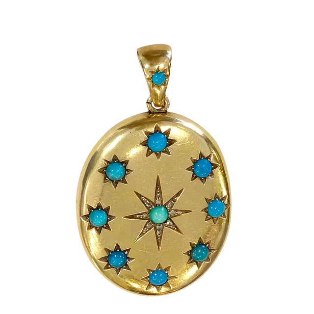 Victorian 18k Gold & Turquoise & Diamond Locket For Sale