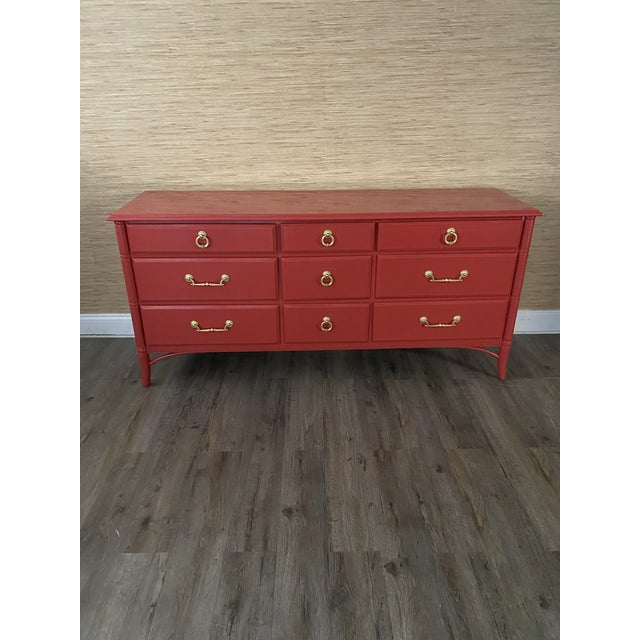 Metal Vintage Thomasville Faux Bamboo Red 9 Drawer Dresser For Sale - Image 7 of 8