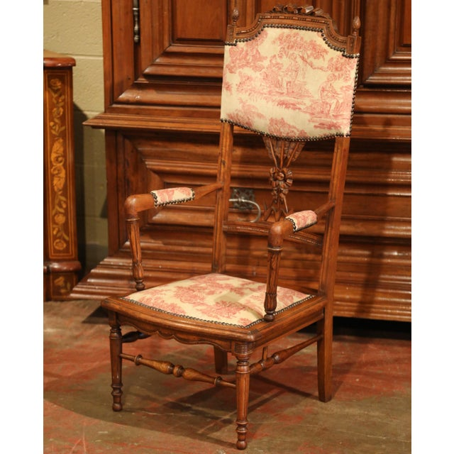 Metal 19th Century French Louis XVI Carved Walnut Chauffeuse Chair With Vintage Fabric For Sale - Image 7 of 10