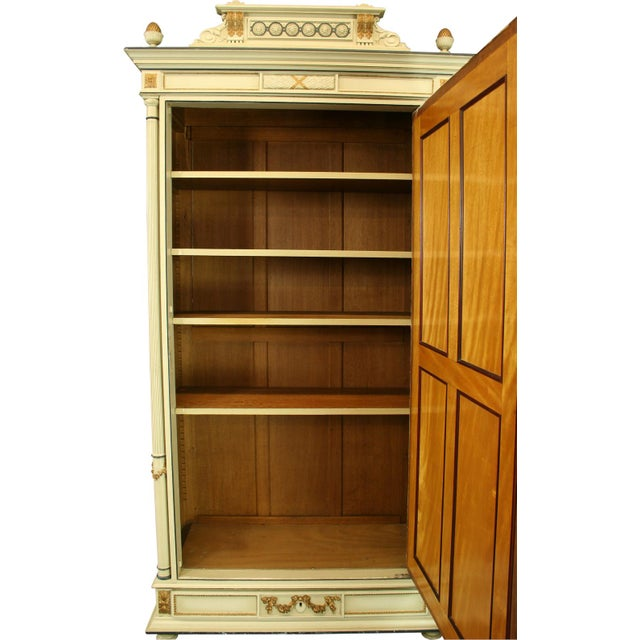 1900 Antique French Louis XVI Painted Armoire For Sale - Image 9 of 9