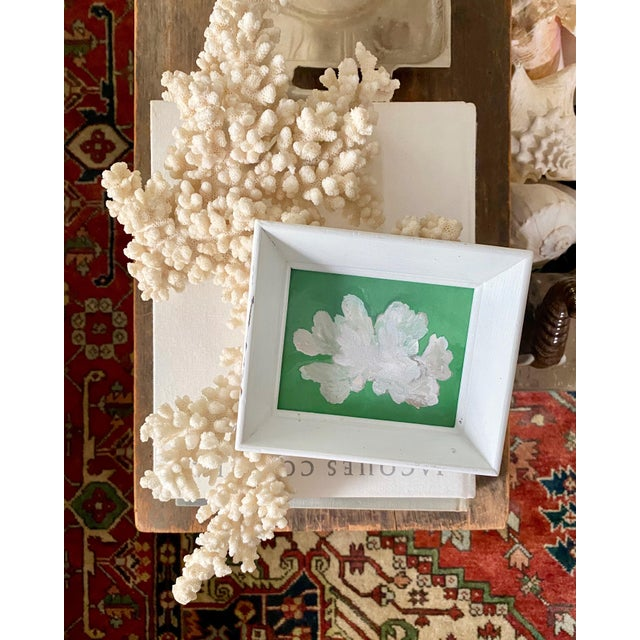 Bright and whimsical nautical coral fragment in a deep set vintage wood frame for the perfect mix of modern and vintage....