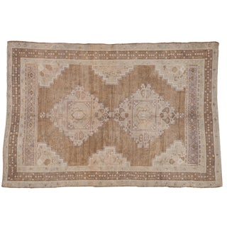 "Vintage Distressed Oushak Carpet - 5'7"" X 8'3"" For Sale"