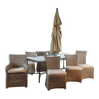 Brown Jordan Glass Top Dining Set & Umbrella For Sale