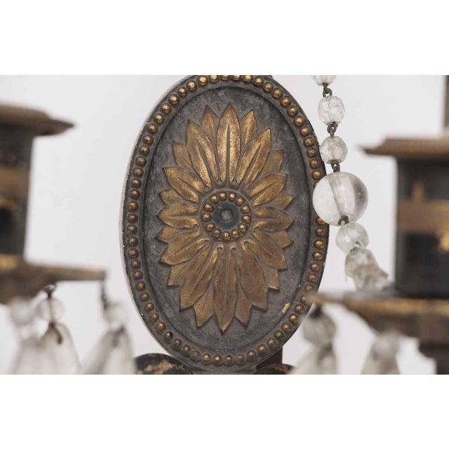 Flower Motif & Crystal Beading Sconce For Sale - Image 4 of 4