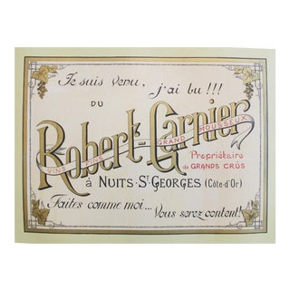 1910s French Alcohol Poster, Robert Garnier Nuits St-George For Sale