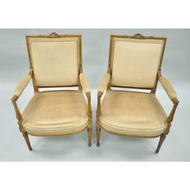 Vintage Carved Walnut French Louis XVI Directoire Square Back Fireside Arm Chairs- a Pair For Sale - Image 9 of 10