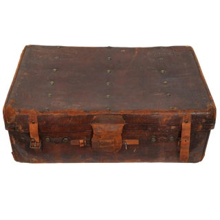 Vintage Leather Trunk For Sale
