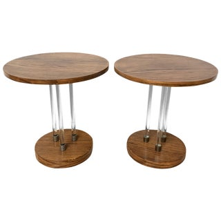 Pair of French Art Deco Oak and Glass Side or End Tables For Sale