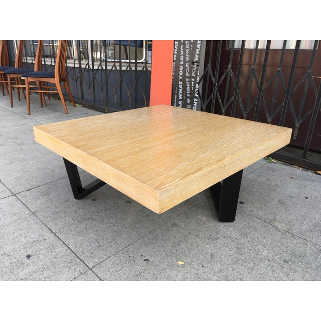 Coffee Table Square Legs: Barzilay Cerused Oak Square Coffee Table With Black Legs