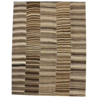 Vintage Turkish Striped Modern Style Kilim Rug, 10'09 X 13'09 For Sale