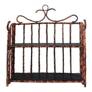 1980s Boho Chic Tiger Bamboo Two Tier Shelf For Sale