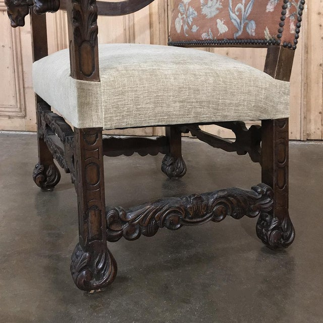 Blue 19th Century Spanish Armchair With Needlepoint Tapestry For Sale - Image 8 of 10