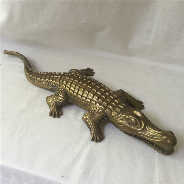 Mid-Century Modern Brass Alligator Figure For Sale - Image 3 of 6