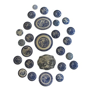 Vintage Blue & White Willow Platters and Plates 27 Pieces For Sale