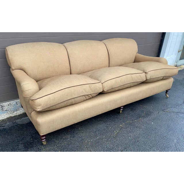 This George Smith Standard Arm Sofa in a heathered tan linen with brown piping and is in great shape. The cushions are...