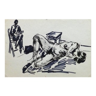 Jean Baptiste Grancher, French Pen & Ink - Artist's Muse For Sale