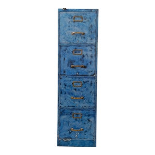 1940s File Cabinet With Blue Patina and Brass Hardware, Inspired by Van Gogh's Starry Night For Sale