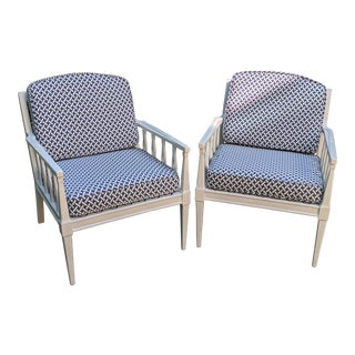 Newly Upholstered Mid-Century White & Blue Patio Chairs - a Pair For Sale
