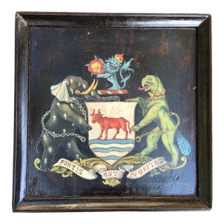 Antique Wood Tray W/ Painting Crest For Sale