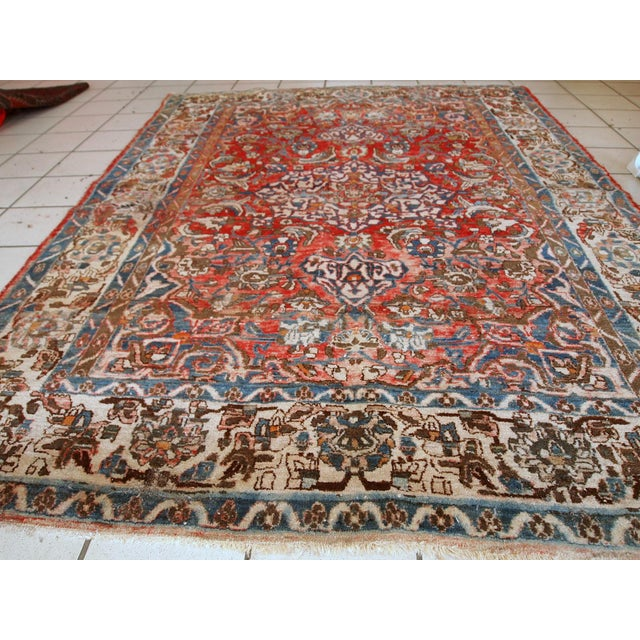 1900s, Handmade Antique Persian Mahal Distressed Rug 4.6' X 6.5' For Sale - Image 9 of 10