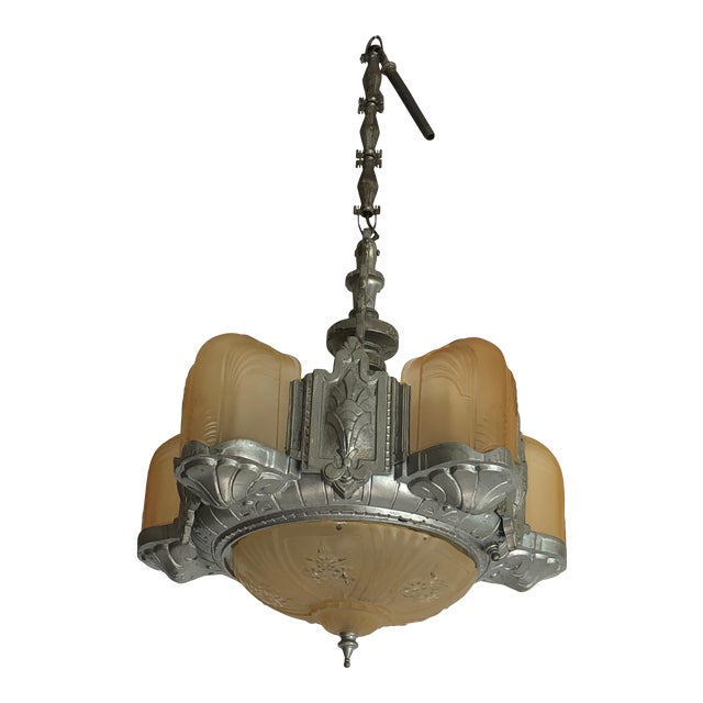 Art Deco Metal and Gold Frosted Glass Chandelier For Sale
