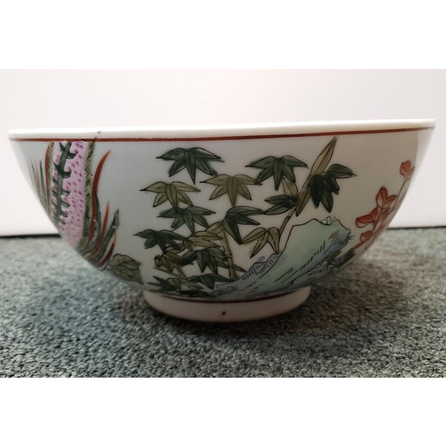 Mid 20th Century Mid 20th Century Chinese Famille Verte Porcelain Peacock/Floral Motifs Bowl For Sale - Image 5 of 8