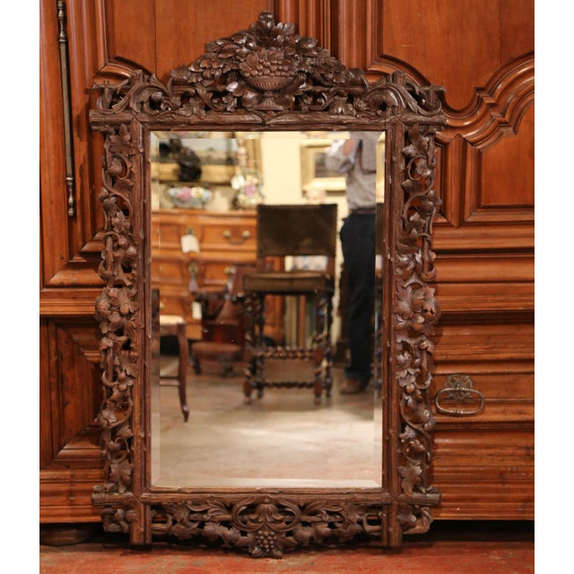 Glass 19th Century French Black Forest Carved Walnut Mirror With Grapes and Foliage For Sale - Image 7 of 7