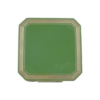 Early 20th Century Deco Sterling & Green Enamel Compact For Sale