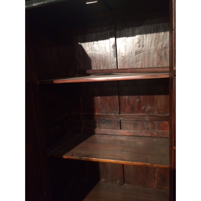 Antique Chinese Red & Black Armoire For Sale - Image 7 of 8