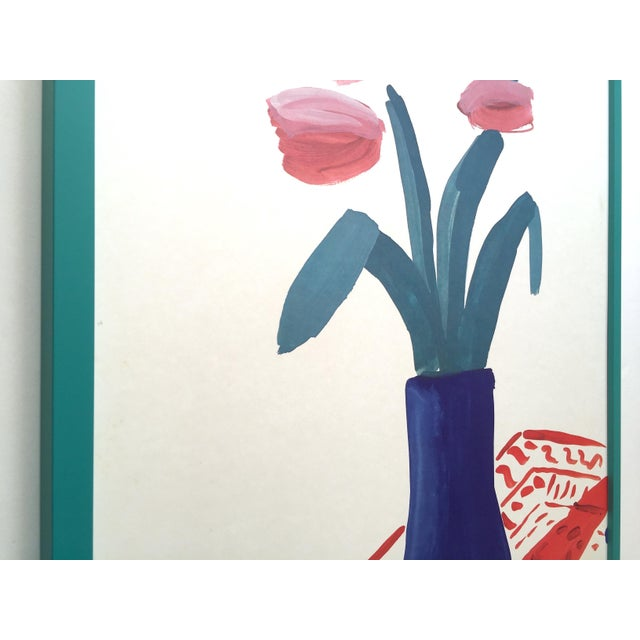 """1980s David Hockney Rare Vintage 1981 Lithograph Print Framed"""" Paris Review """" 25th Anniversary Collector's Poster For Sale - Image 5 of 13"""