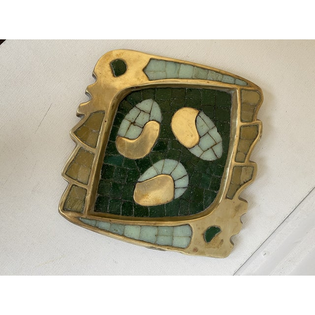 Salvador Teran Mexican Artist Salvador Teran Brass and Glass Tile Trinket Tray For Sale - Image 4 of 4