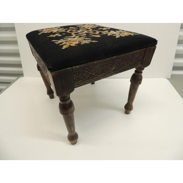 Vintage Gothic Style Footstool Reupholstered with Floral Tapestry Louis XVI Style Legs For Sale - Image 5 of 5