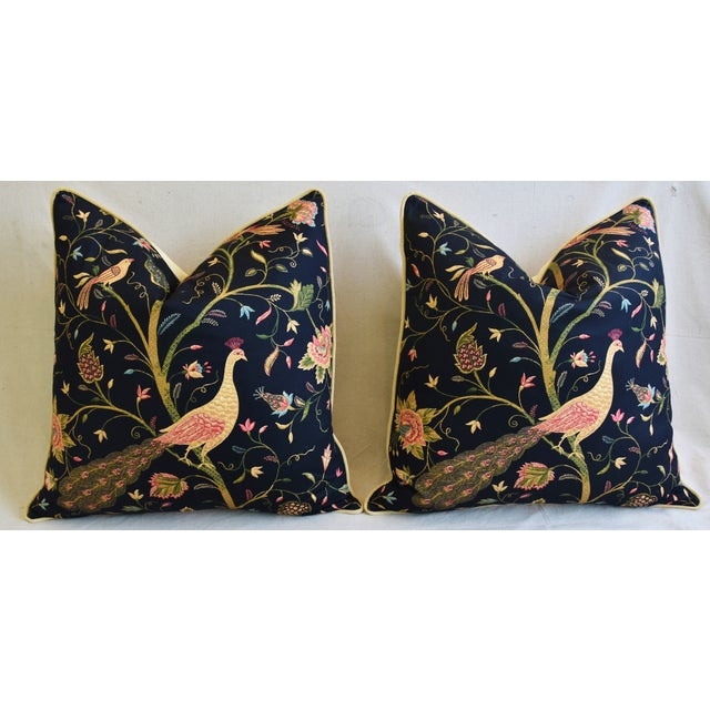 """Chinoiserie Peacock & Floral Asian Feather/Down Pillows 24""""- Pair - Image 6 of 13"""