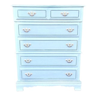 1970s Cottage Bassett Light Blue Chest of Drawers For Sale