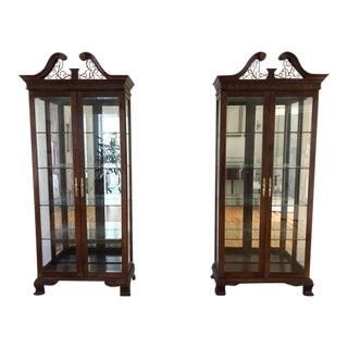 Mahogany Traditional Curios Cabinets - a Pair
