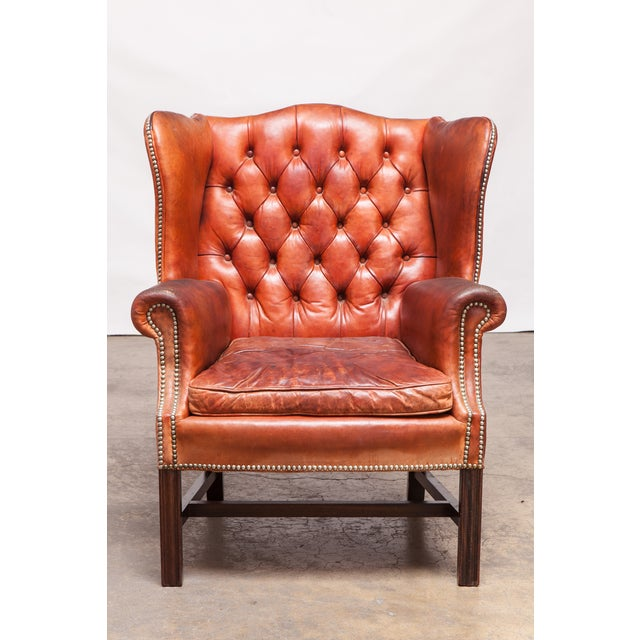 English Cigar Leather Tufted Wing Chairs - Pair - Image 2 of 10