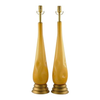 Vintage Murano Glass Table Lamps Butterscotch For Sale