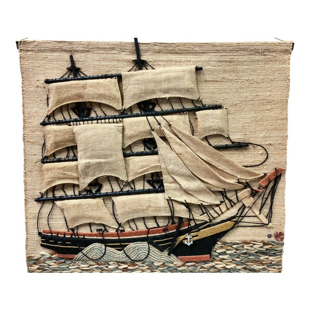 Don Freedman Macrame Wall Hanging of a Sailing Ship For Sale