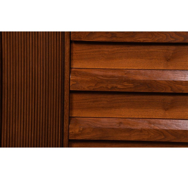 Mid Century Lane First Edition Walnut Buffet Credenza Hutch For Sale - Image 12 of 13