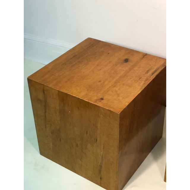 Late 20th Century Burl Wood Cubes or Side Tables- A Pair For Sale - Image 4 of 6