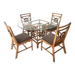 McGuire Style Target Back Set of Table and 4 Rattan Chairs For Sale