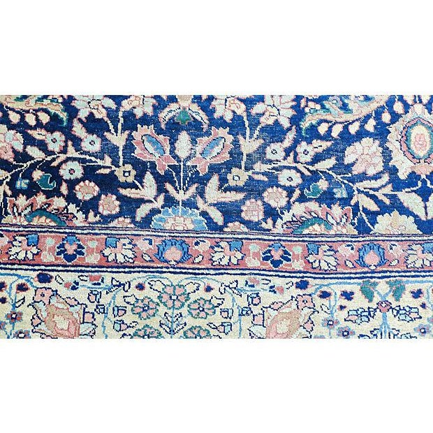 """Beautiful antique handmade low pile Persian """"Tabriz"""" rug from turn of the century, this rug with some worn spots but no..."""