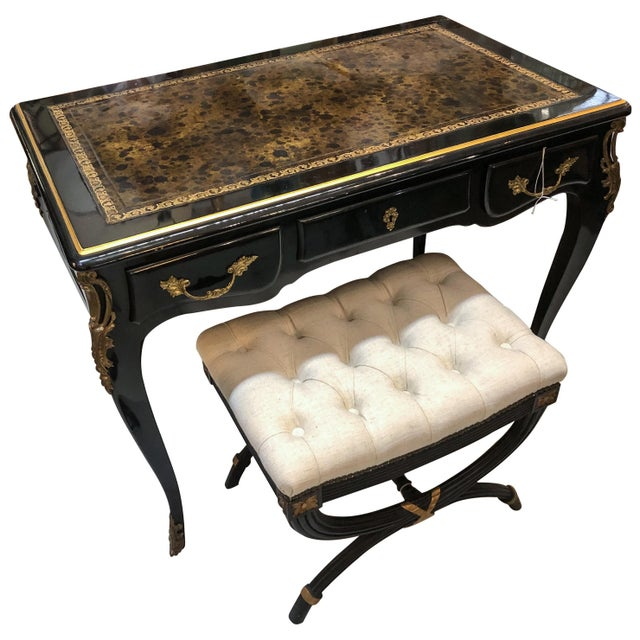 Louis XV Style Desk / Secretary With Neoclassical Stool Set For Sale - Image 13 of 13