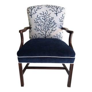 1960s Vintage Coral Motif Velvet Armchair For Sale