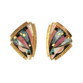 22k Gold Silver &Enamel Signed Pierced Earrings For Sale