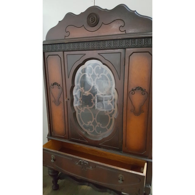 Antique Art Deco Waterfall Armoire - Vintage Waterfall Hutch China Cabinet For Sale - Image 4 of 7