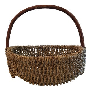 Vintage Bentwood Handle Rope Basket For Sale