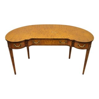 Italian Burlwood Demilune Adams Style Writing Desk Vanity by Giemme For Sale