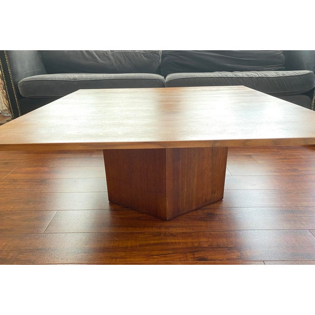 Mid-Century Danish Modern Walnut Square Coffee Table Octagonal Base For Sale In San Diego - Image 6 of 11